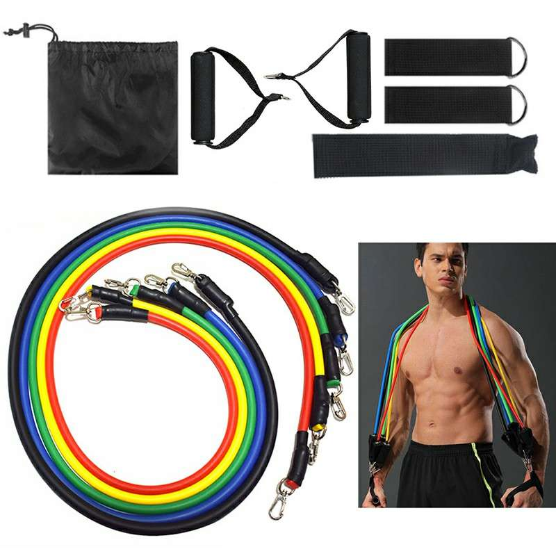 11 Piece Resistance Band Set for Crossfit Fitness Workout Exercise Yoga